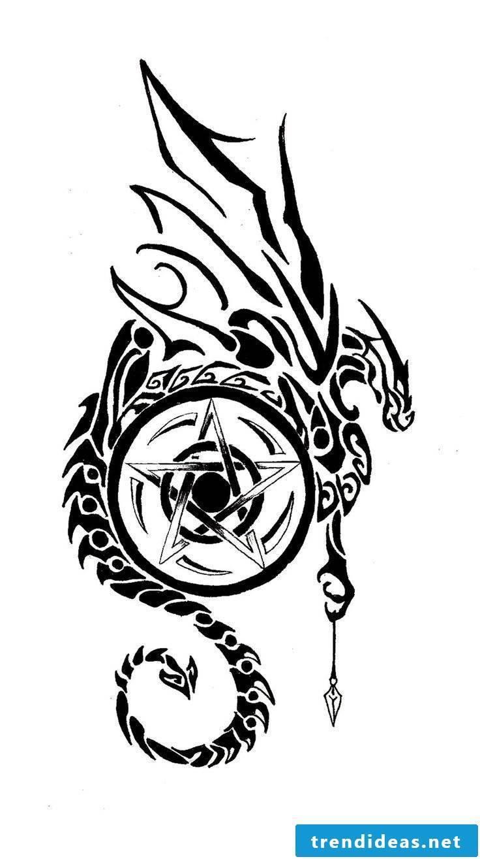 Pentagram tattoo templates for printing