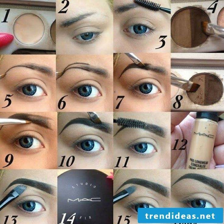 Eyebrow shapes make-up instructions