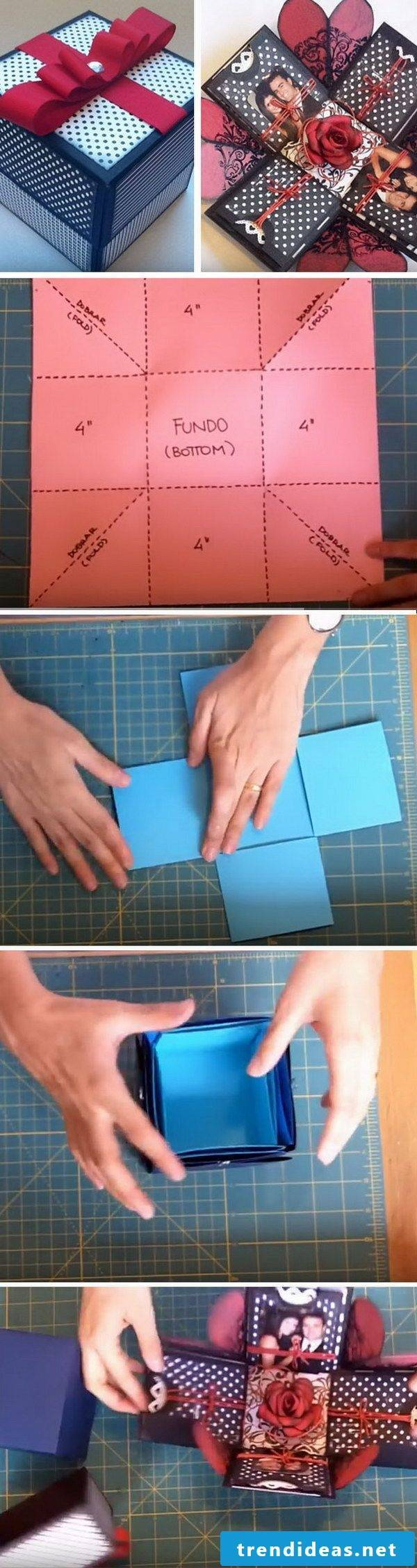 Box photo album to make yourself with instructions