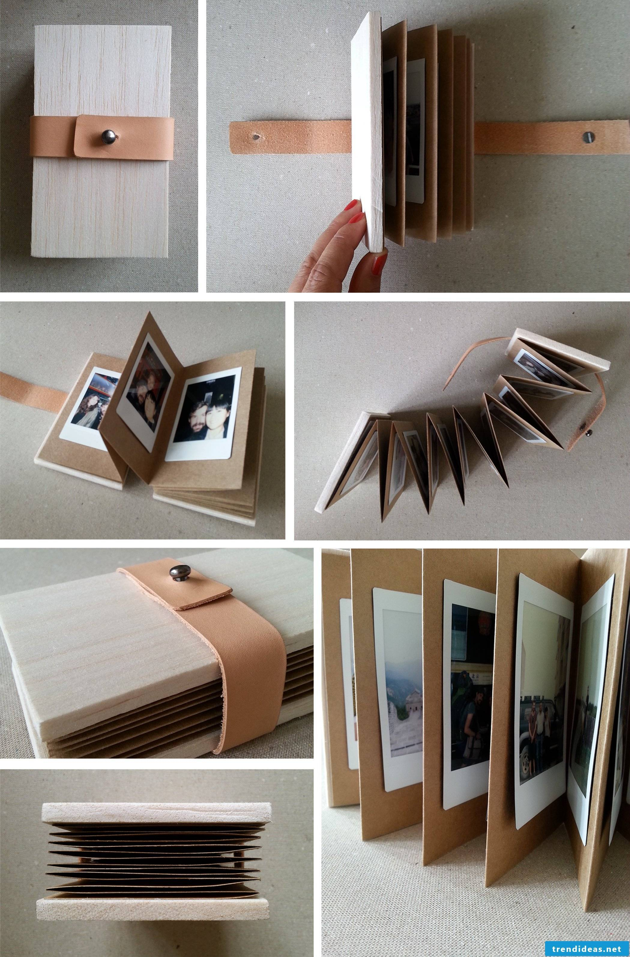 Homemade photo album with leather