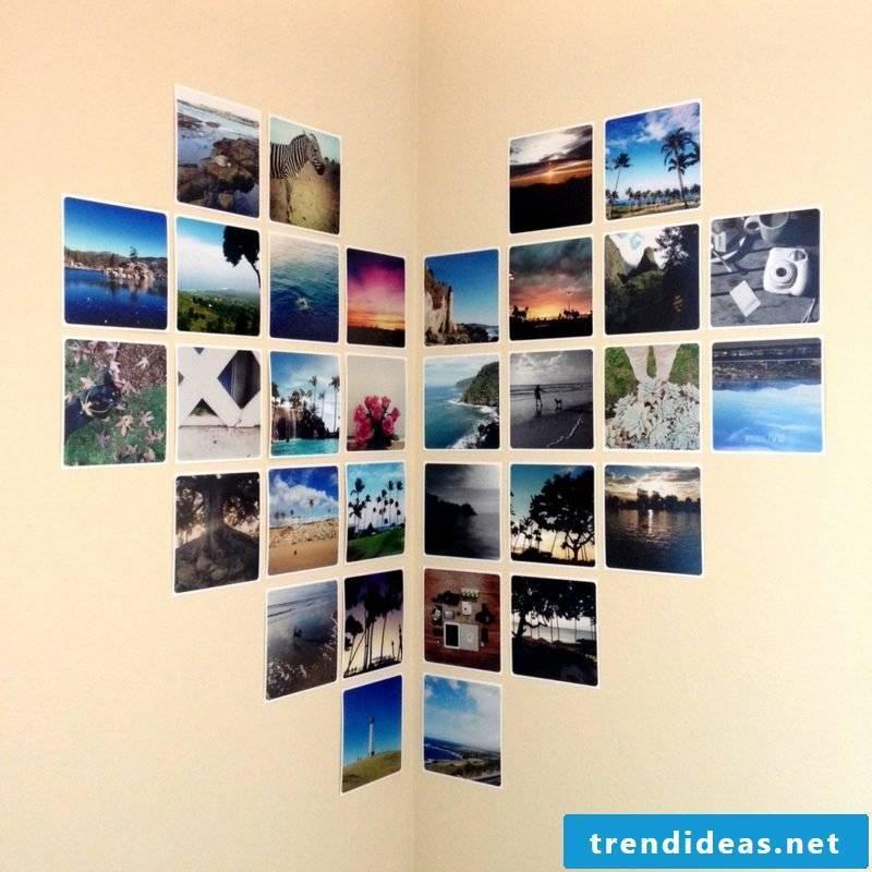 Photo wall heart shaped collage corner wall