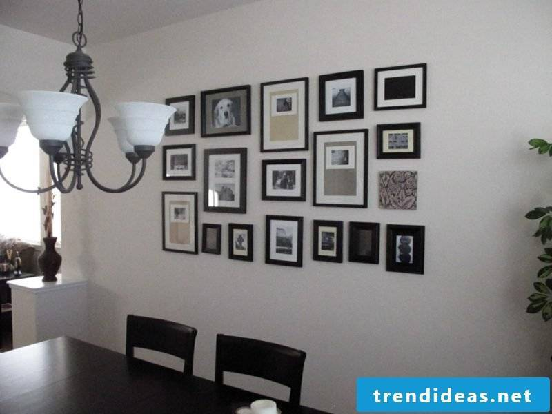 framing the photo wall in the dining room