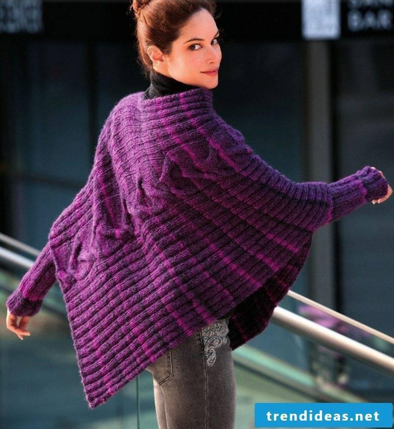 Knit cardigan elegant poncho in purple