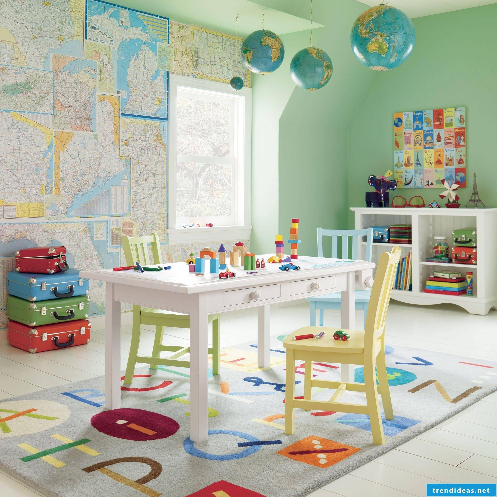 Youth and children's room for world travel lovers
