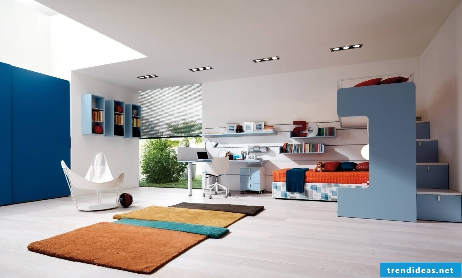 Chic youth room in blue