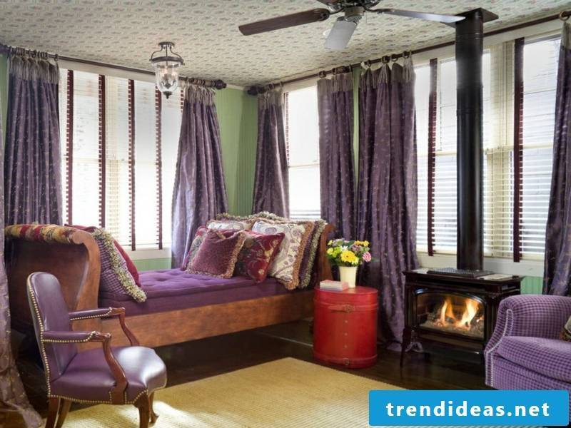 window curtains in dark lilac tones
