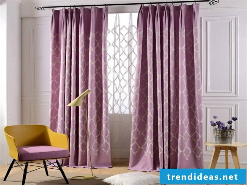 Bright purple window curtains in the living room