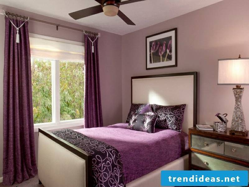 window curtains in purple room