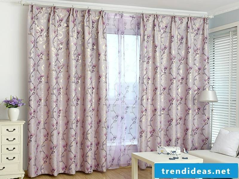 designer delicate purple window curtains