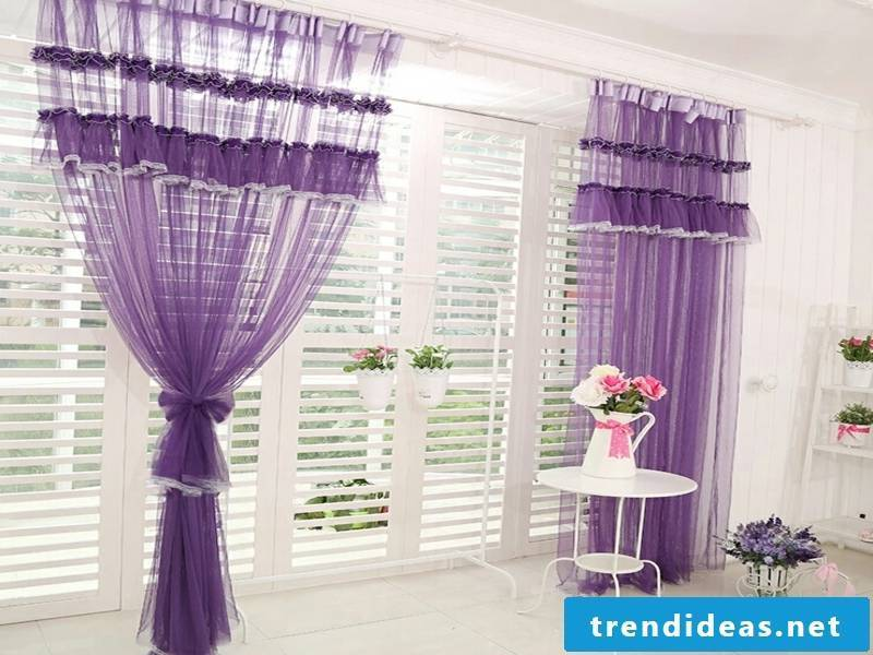 romantic purple window curtains
