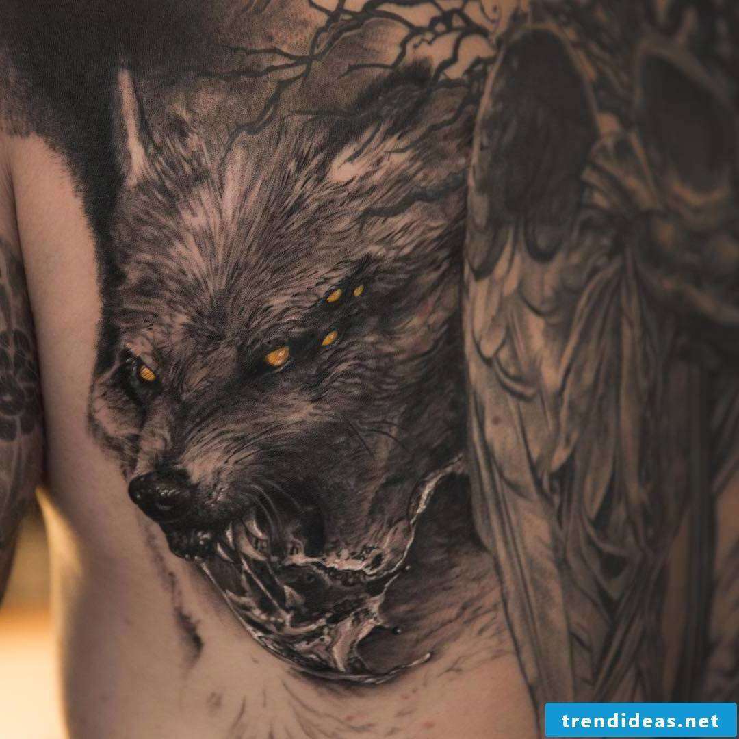 Odin's Wolves Tattoo from Norse Mythology