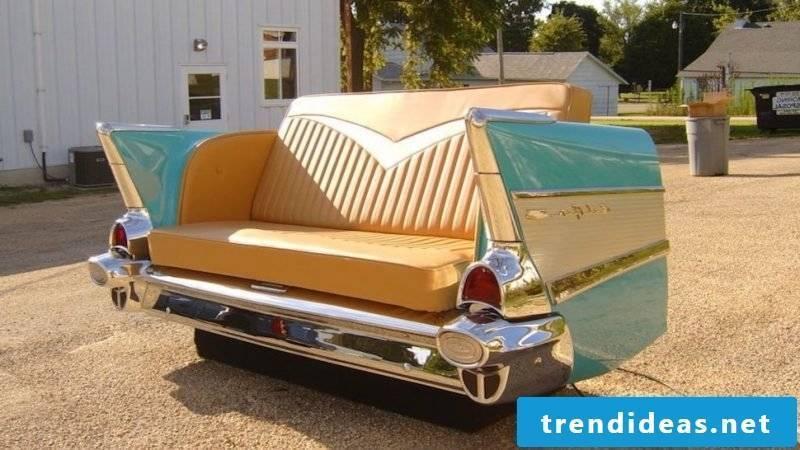 Unique sofa made of old car parts!