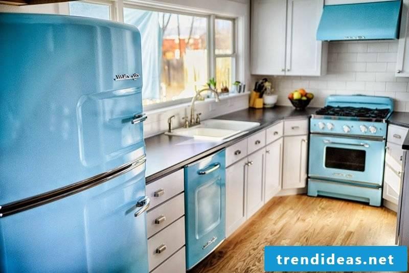 retro refrigerator bosch blue