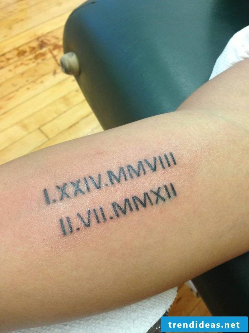 Roman numbers tattoo two important dates
