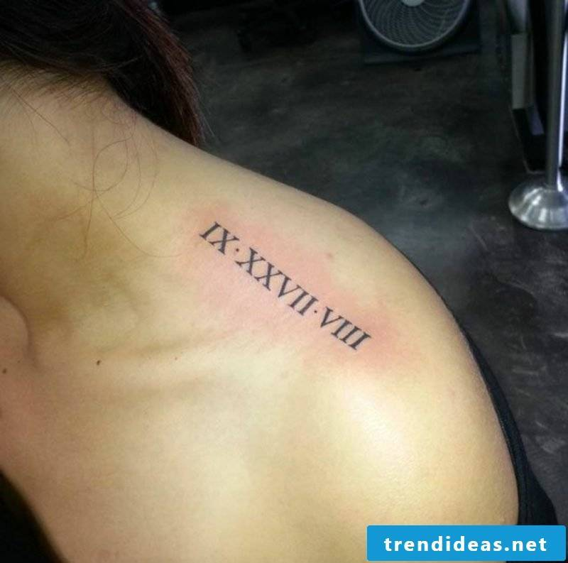 get a Roman numerals tattoo on the shoulder