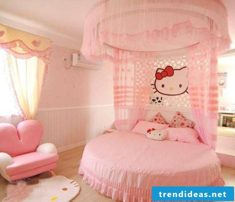 round bed in pink nursery