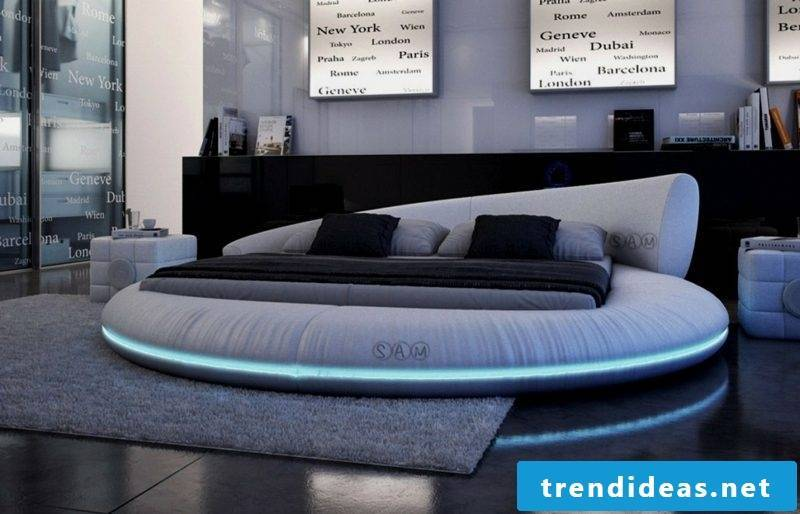 round bed with LED lights modern