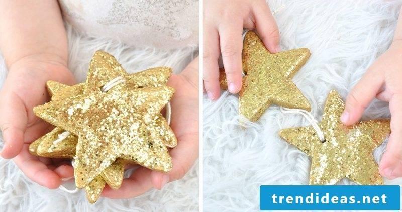 Salt dough Christmas decorate with glitter