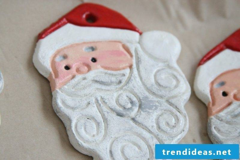 Salt dough Christmas Santa Claus making jewelry