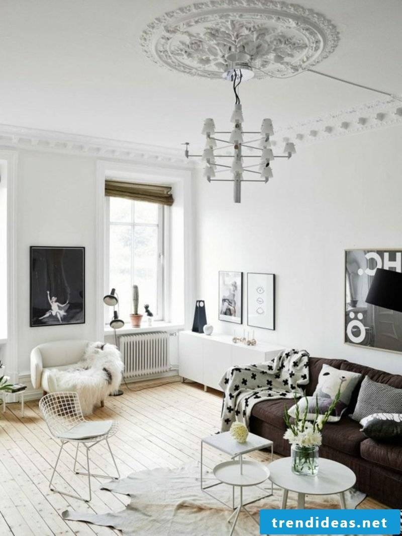 Scandinavian furniture splendid living room in white