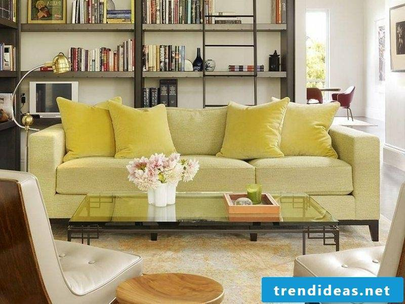 Scandinavian furniture splendid upholstered sofa in light yellow open shelving system