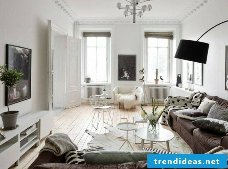 Scandinavian furniture living room neutral color scheme original decorations
