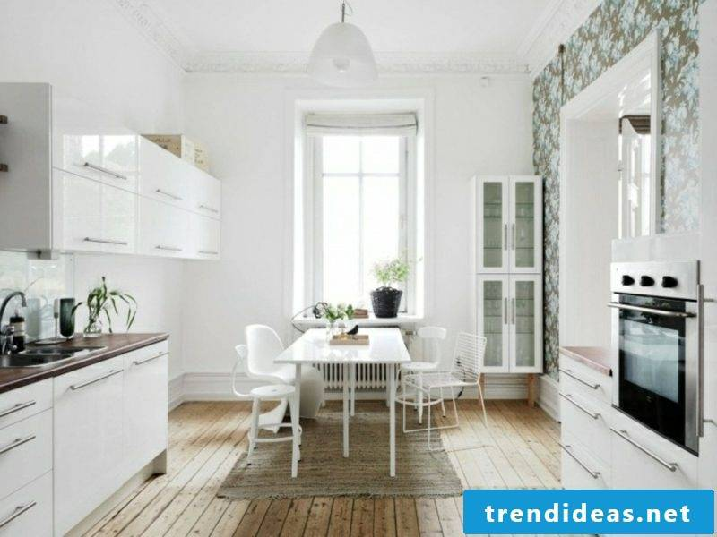 Scandinavian furniture modern kitchen in white