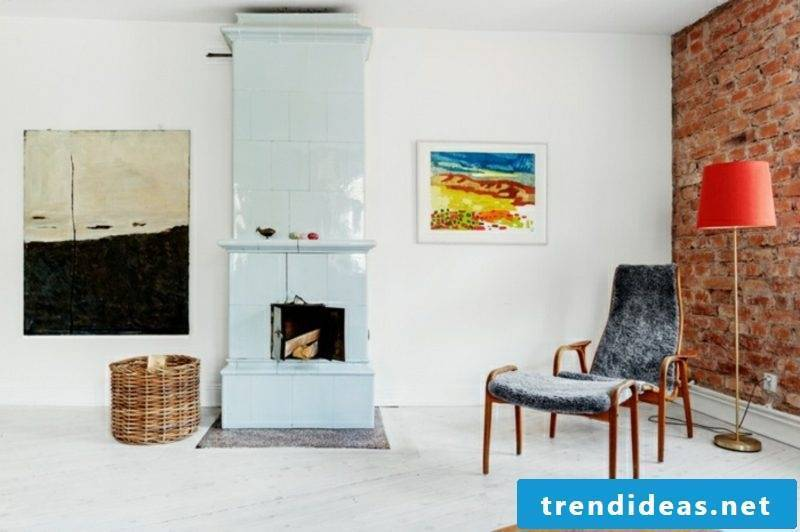 Scandinavian furniture original Armsesssel fireplace colored Bils as an accent