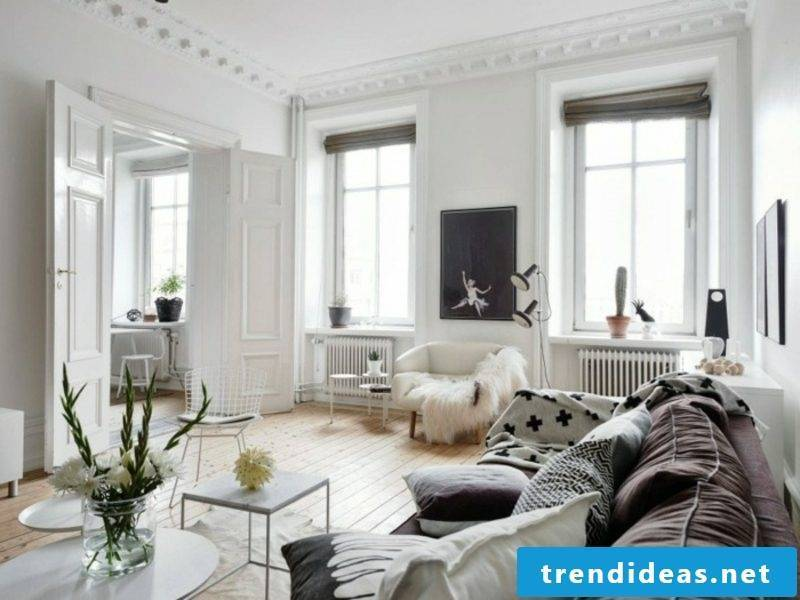 Scandinavian furniture living room puristic neutral color scheme