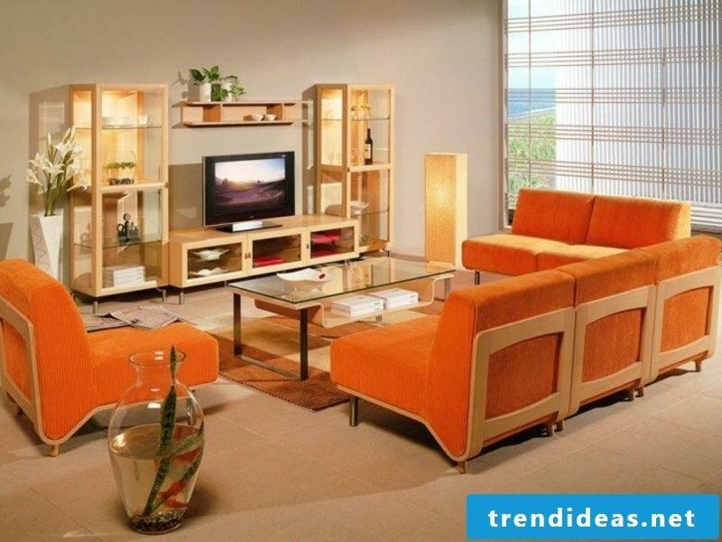 Scandinavian furniture living room orange accents