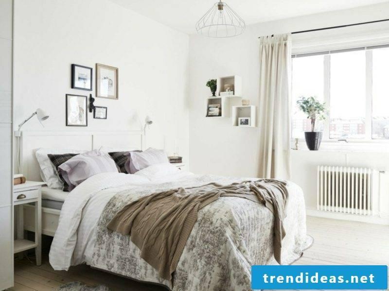 Scandinavian living bedroom gray bedspread