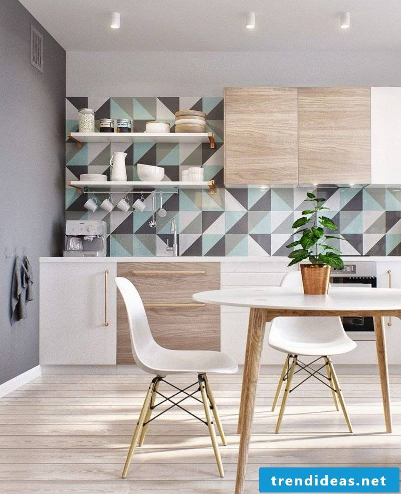 Geometric shapes as a wall design in the kitchen