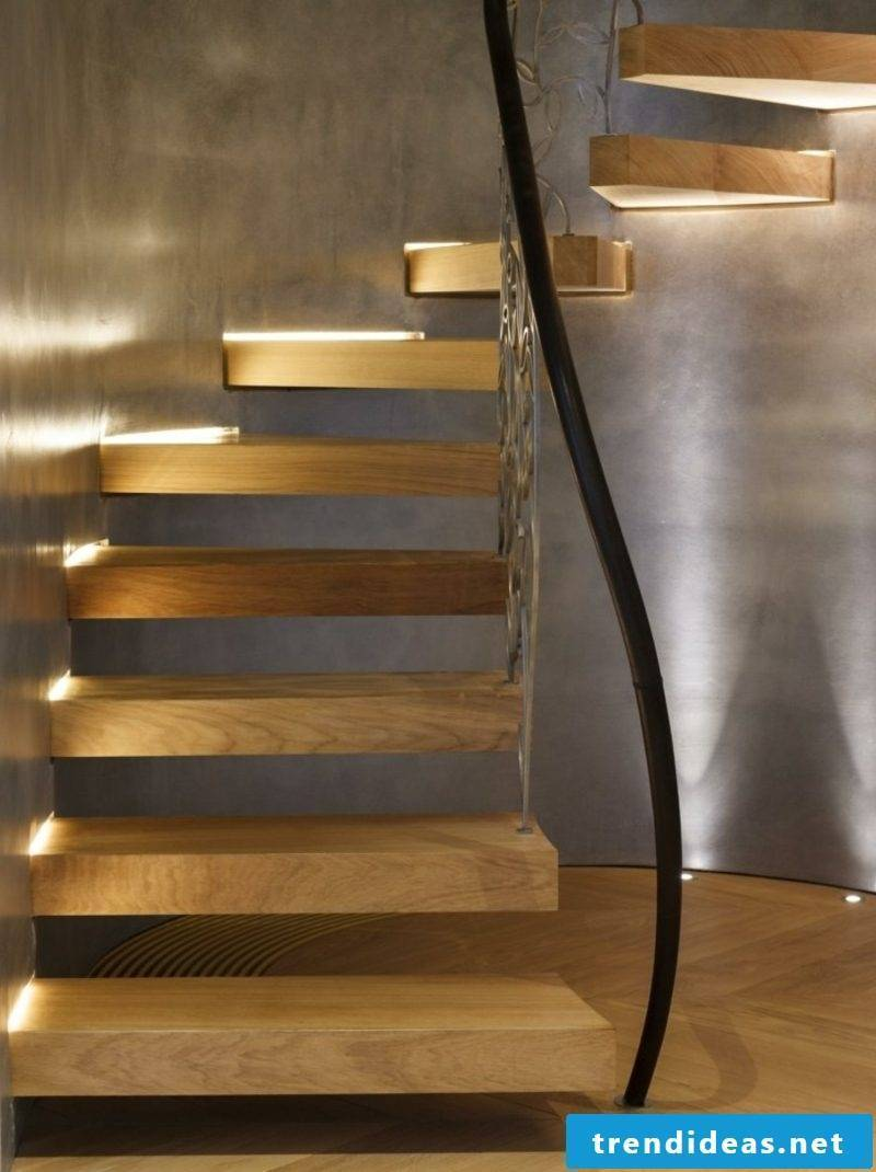 free-hanging staircase with original lighting
