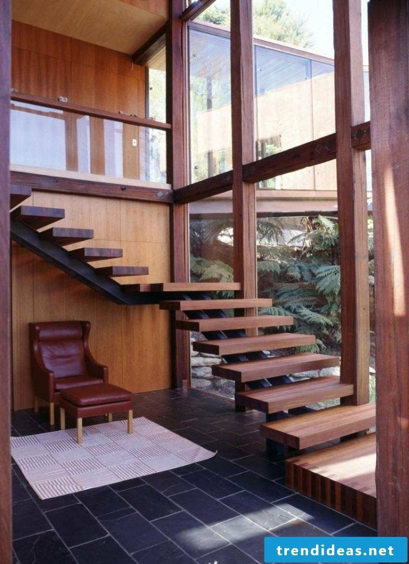 free-hanging staircase wood