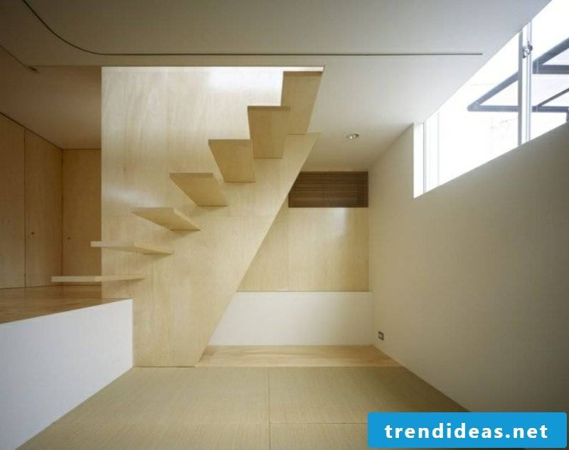 modern self-supporting wooden stairs