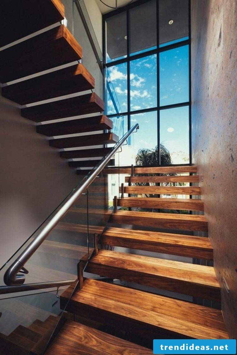 free-hanging staircase wooden steps
