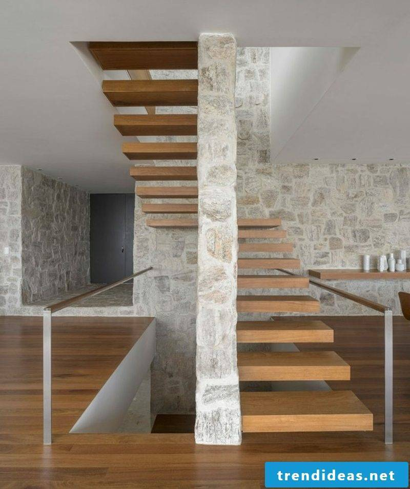 Cantilevered wood stairs
