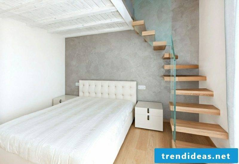 free-hanging wooden staircase bedroom