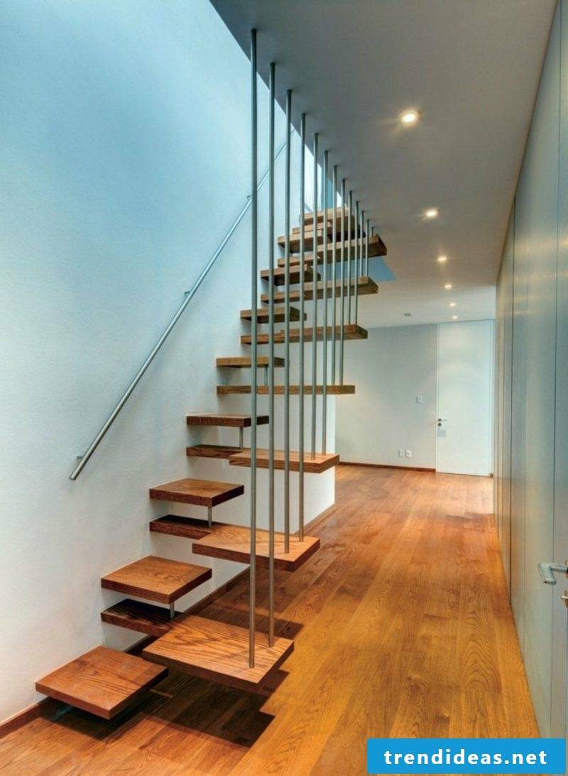 extravagant free-hanging staircase wood