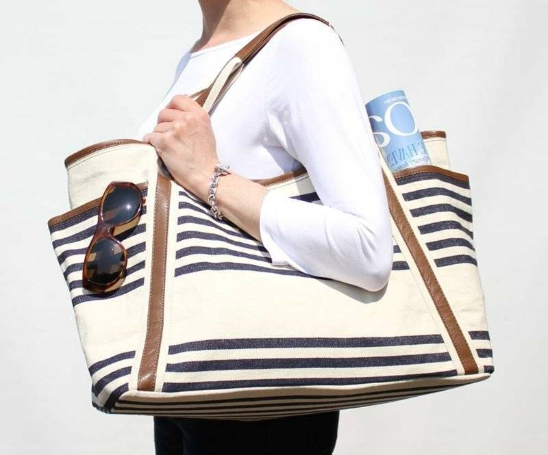 Beach bag sewing huge variant striped
