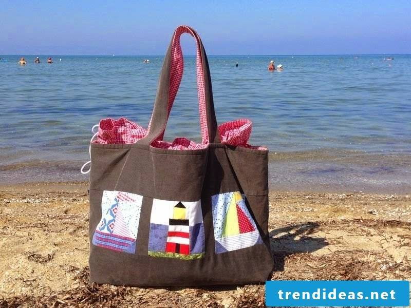 Beach bag sewing original fashioned in brown homemade