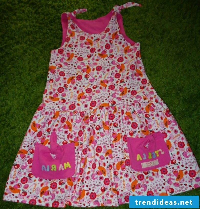 Sew summer dress in white and pink children's clothing