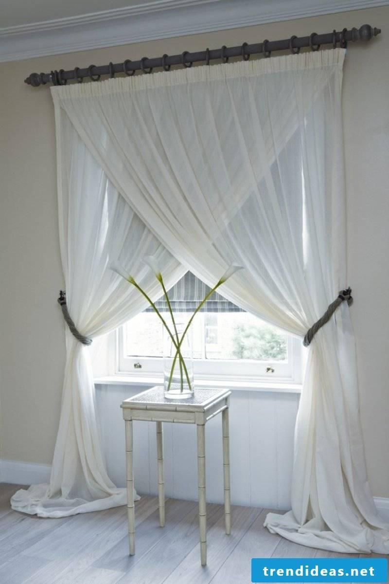 silk curtains in white
