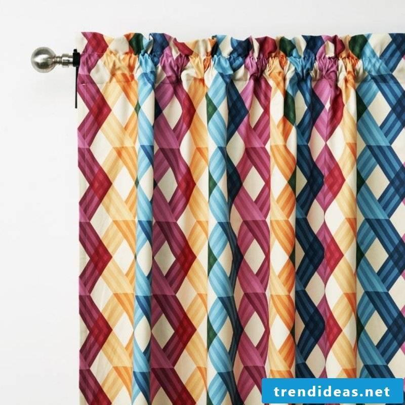 colorful curtains geometric motifs