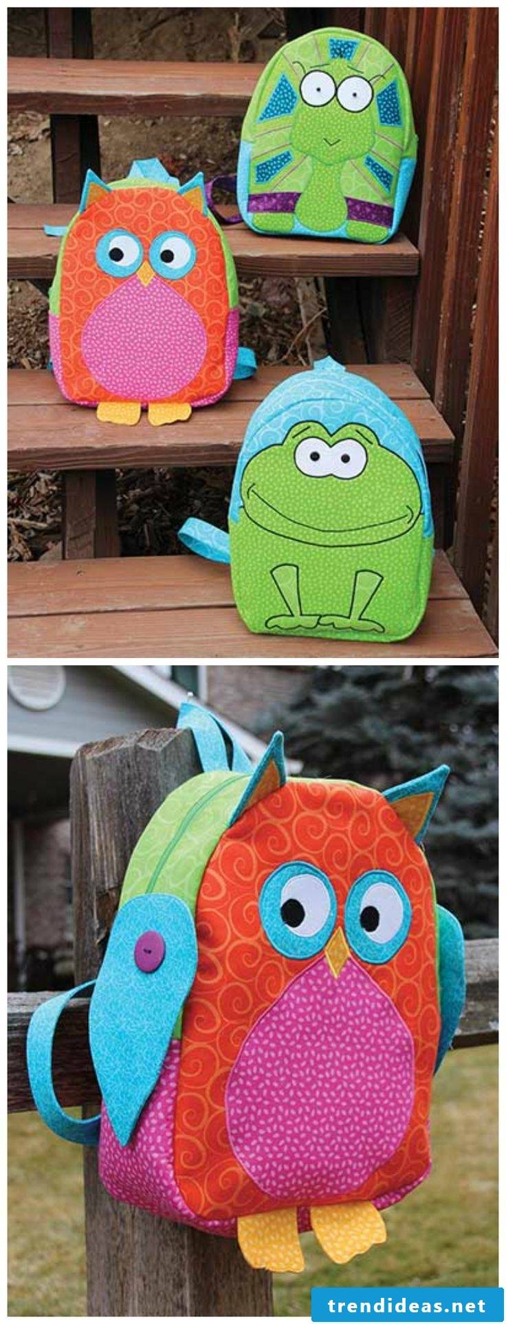 Sew kids backpack by yourself - funny ideas