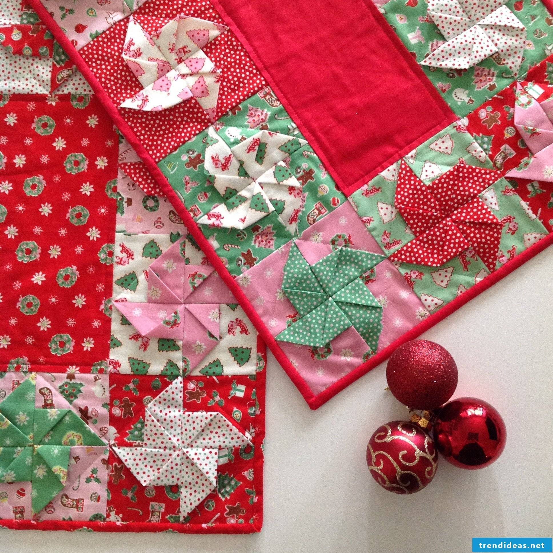 Sewing table runners for Christmas - instructions