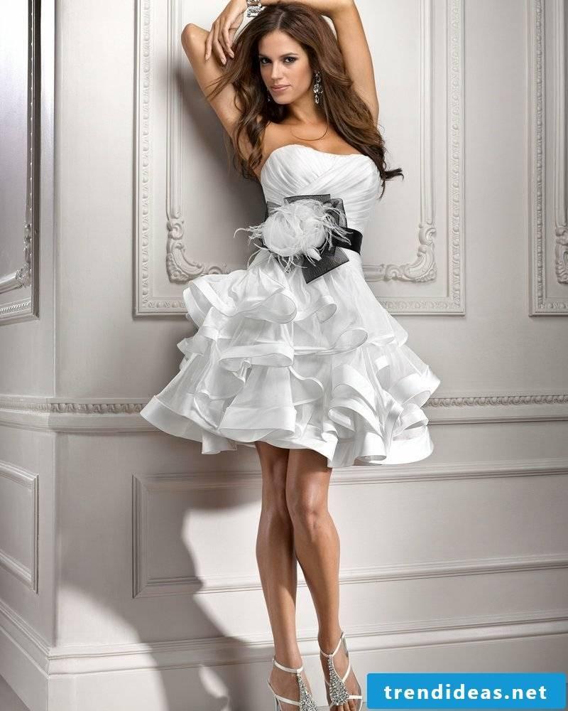 sexy wedding dress White Organza Ball Black Ribbon