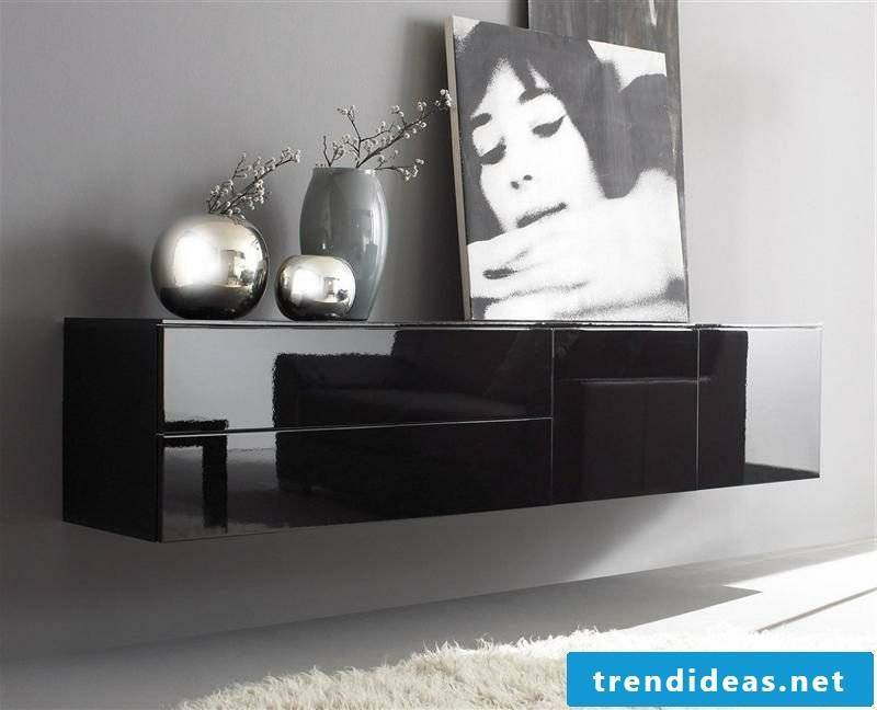 black sideboard hanging modern design