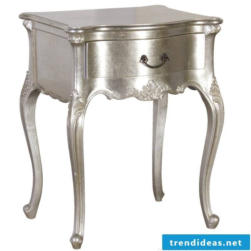 Silver bedside table for home.