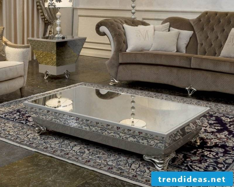 luxurious coffee table in silver.